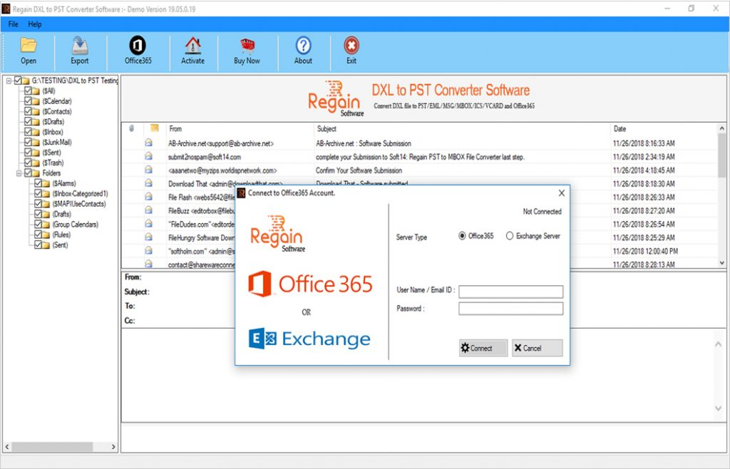 Migrate or Export DXL database to Office 365 Account or Live Exchange Server