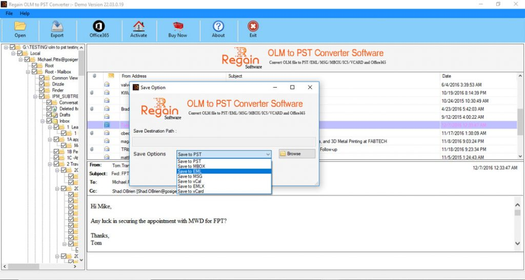 Export MAC Outlook Emails to PST