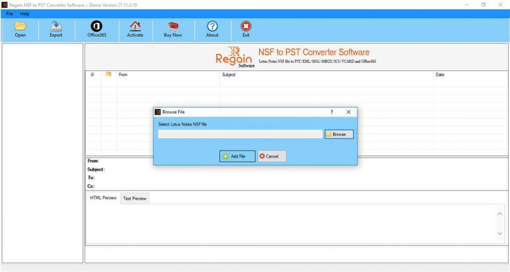 Export NSF files to Office 365
