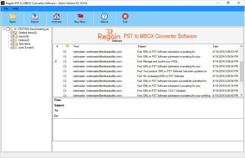 Show Preview of Emails before PST to MBOX Conversion