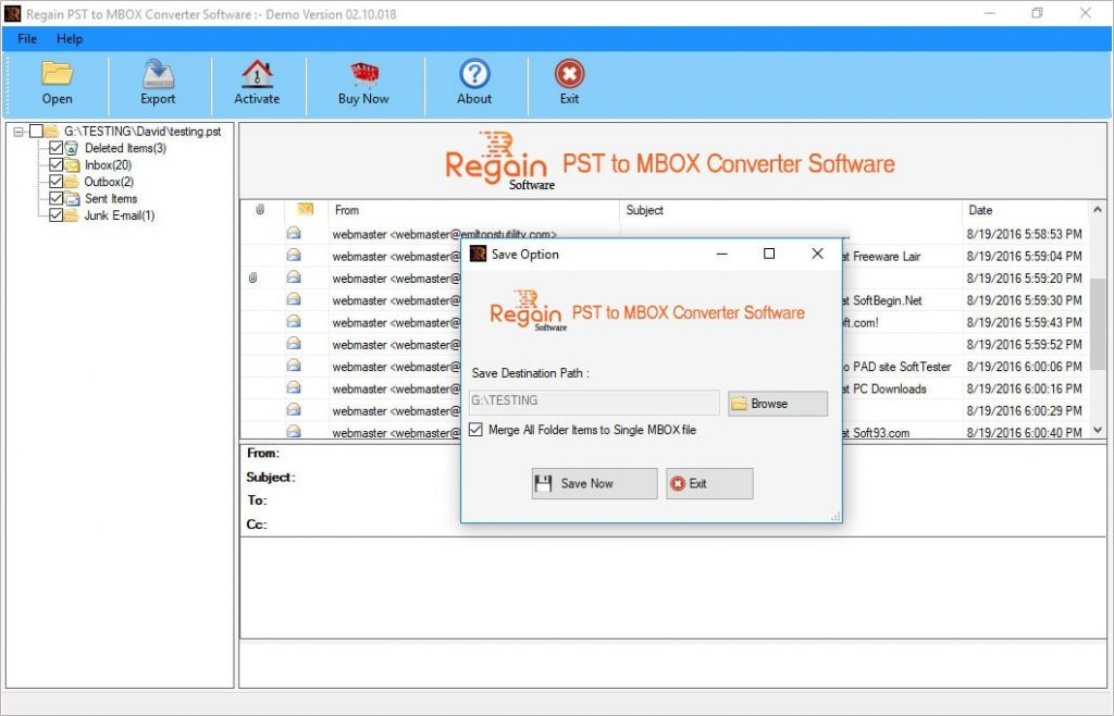 Select the destination location to save converted MBOX file