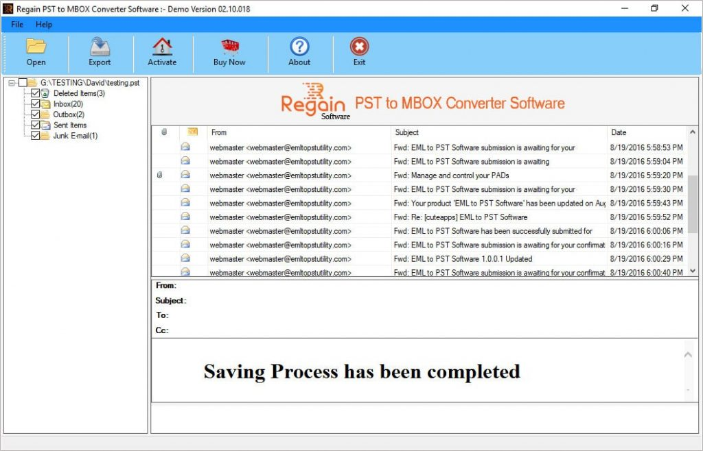 Successfully Convert PST file to MBOX format