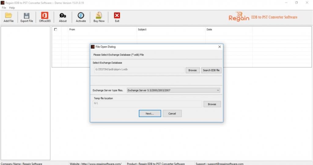 Select EDB file for Conversion