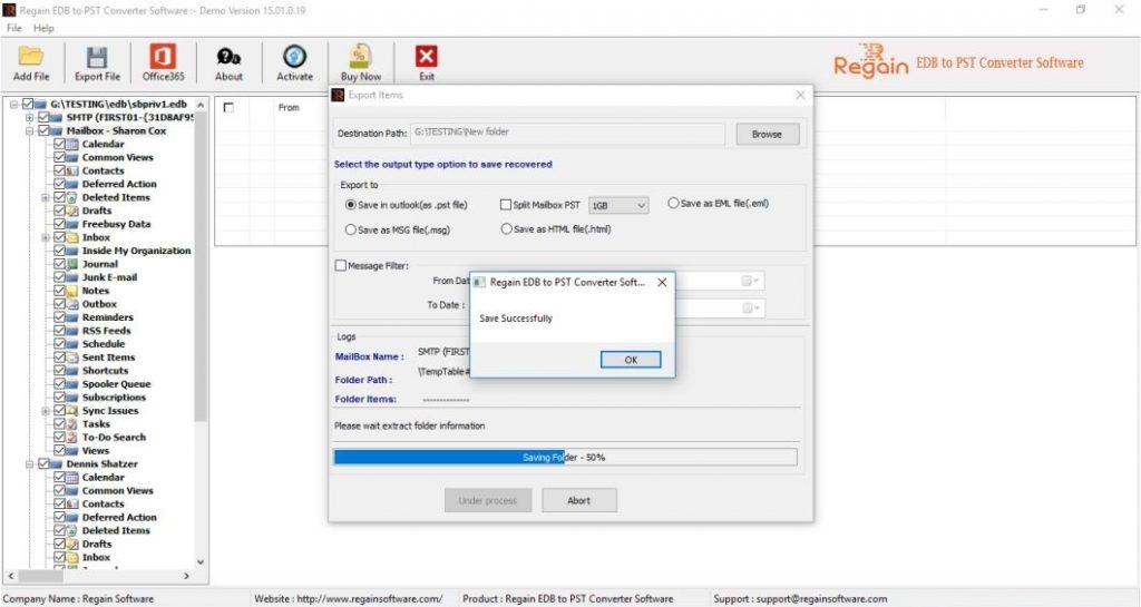 Transfer EDB Mailbox to PST format