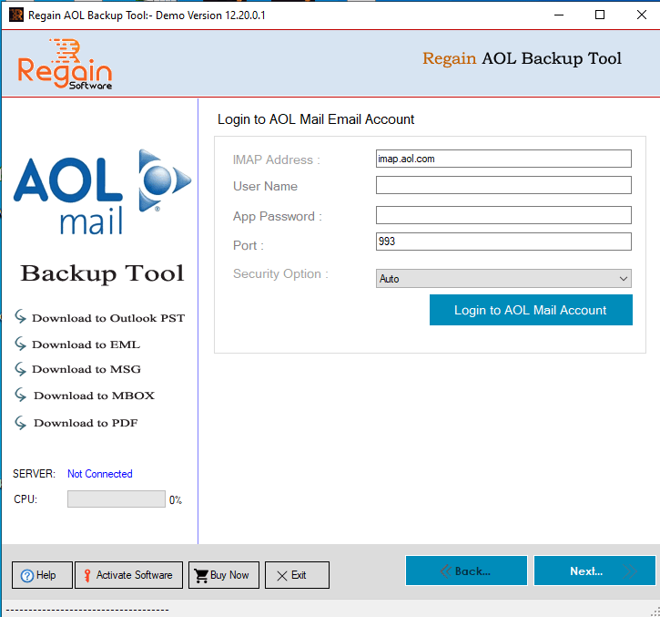 Home Screen of Regain AOL Mail Backup Software