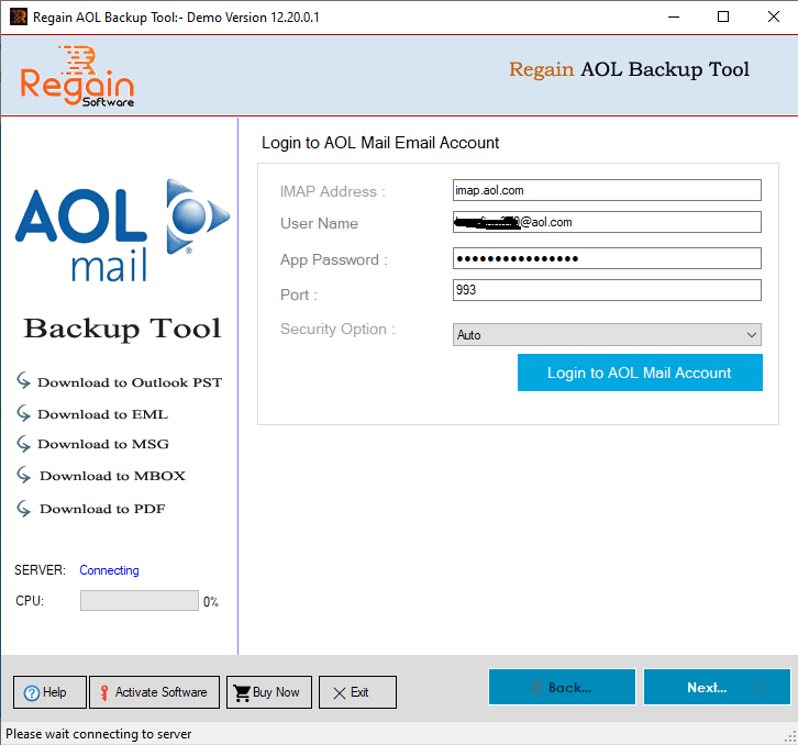 Enter Login Detail of AOL Mail Account
