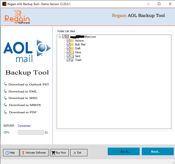 Show all Folders of AOL Mail account