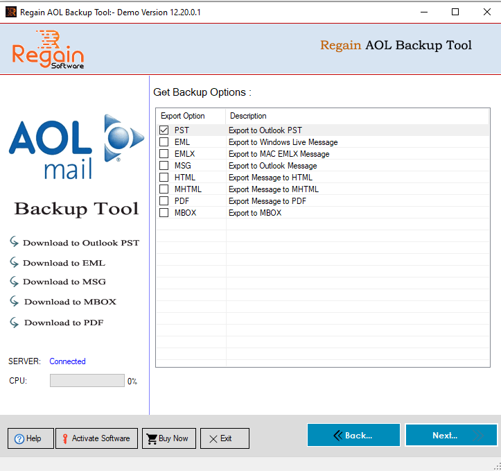 Select desire 'File format' to take Backup of AOL Mail account