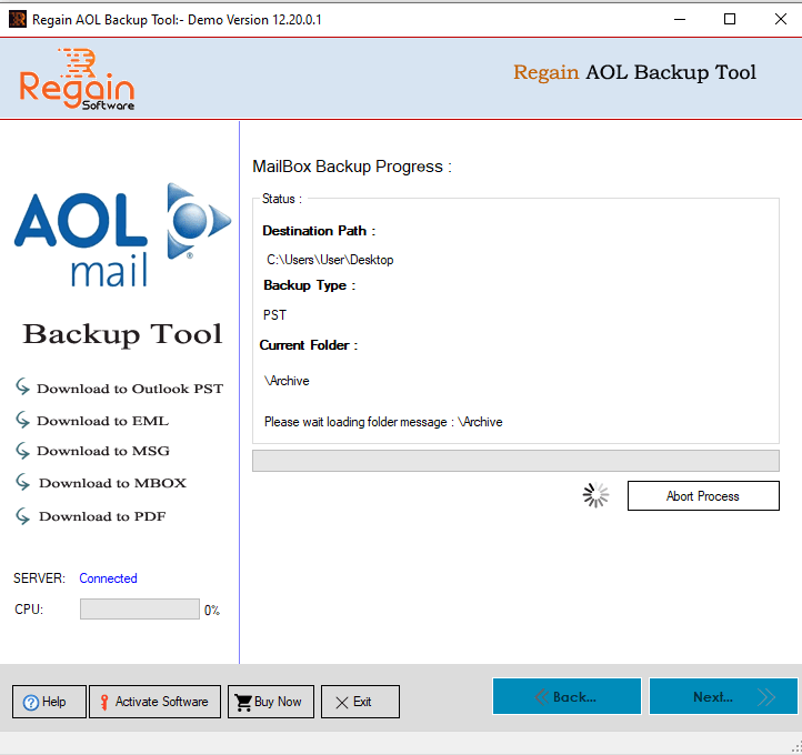 AOL Mail Backup Process Initiated