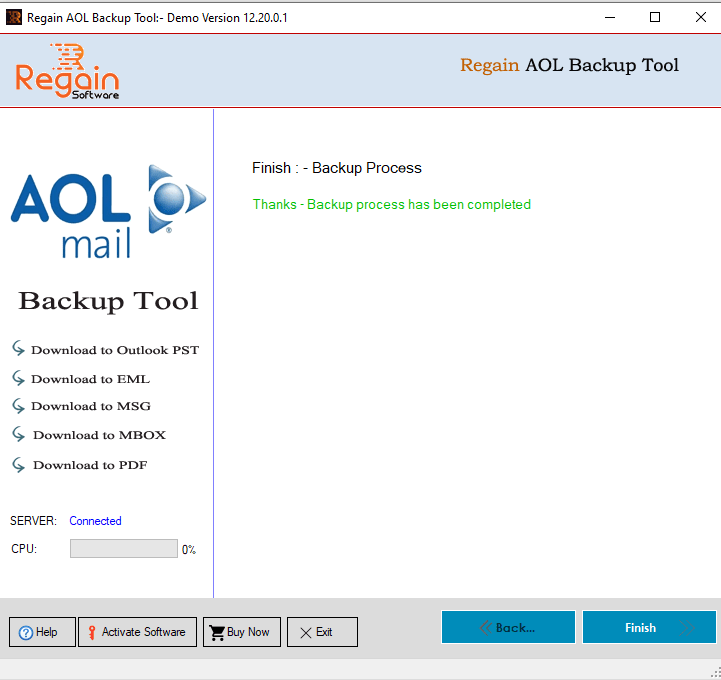 AOL Mail Backup Process Completed