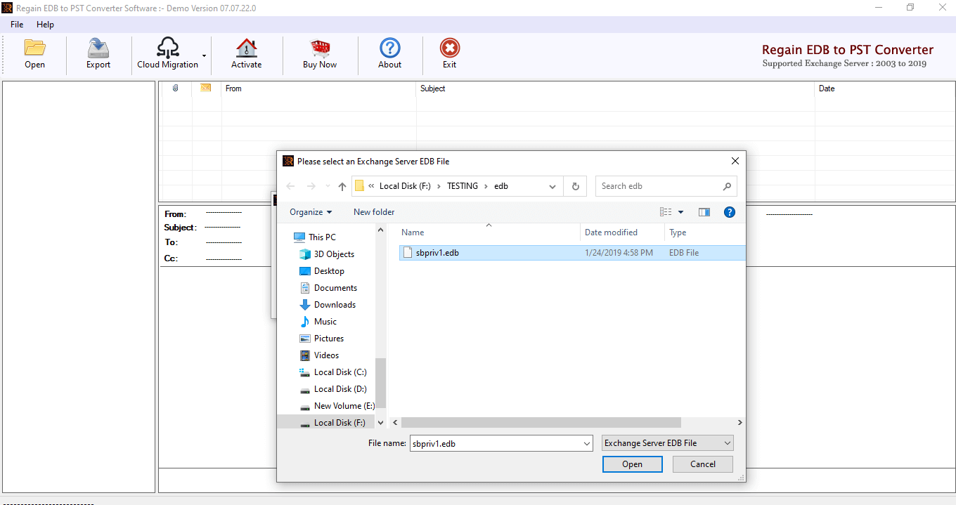 Select EDB file to convert into pst format