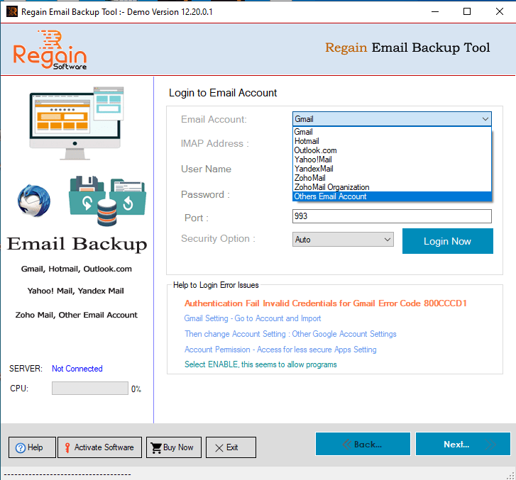 Home Screen of Regain Emails Backup Software