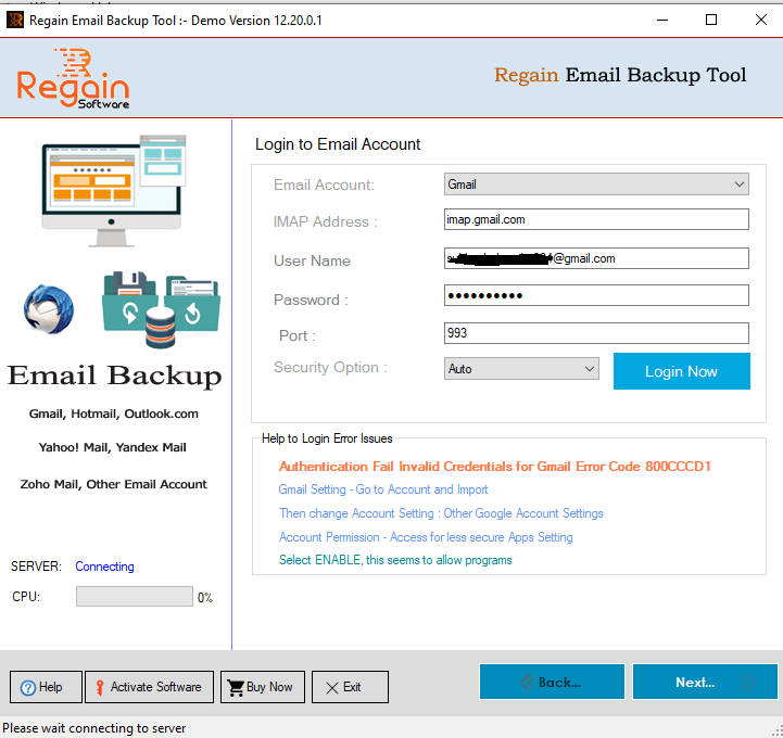 Enter Login Detail of Emails Account which you selected