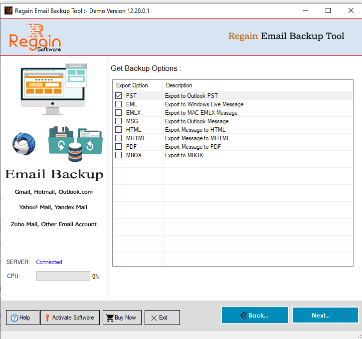 Select 'File format' to take Backup of Email account