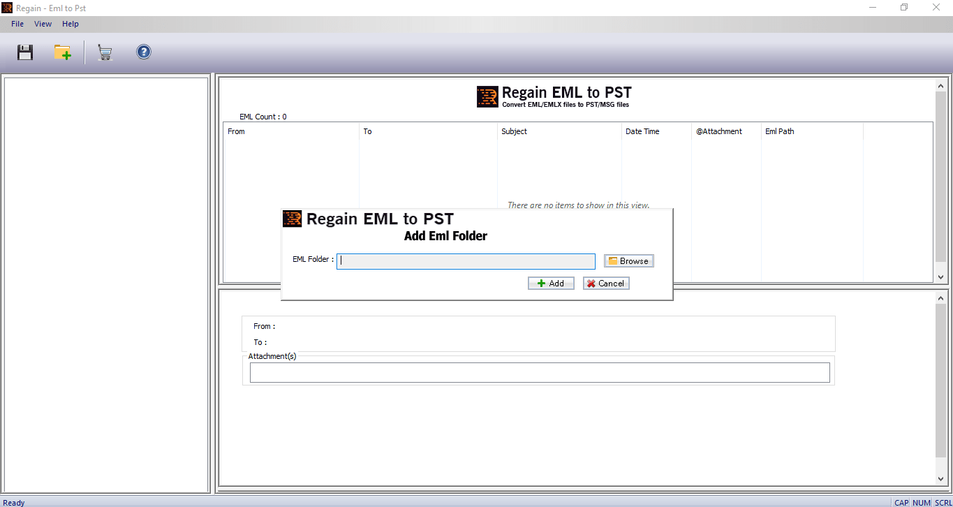 Home Screen- Regain EML to PST Converter