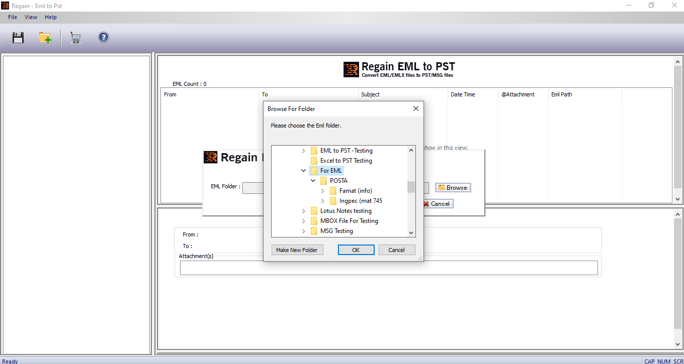 Browse EML File for Converter