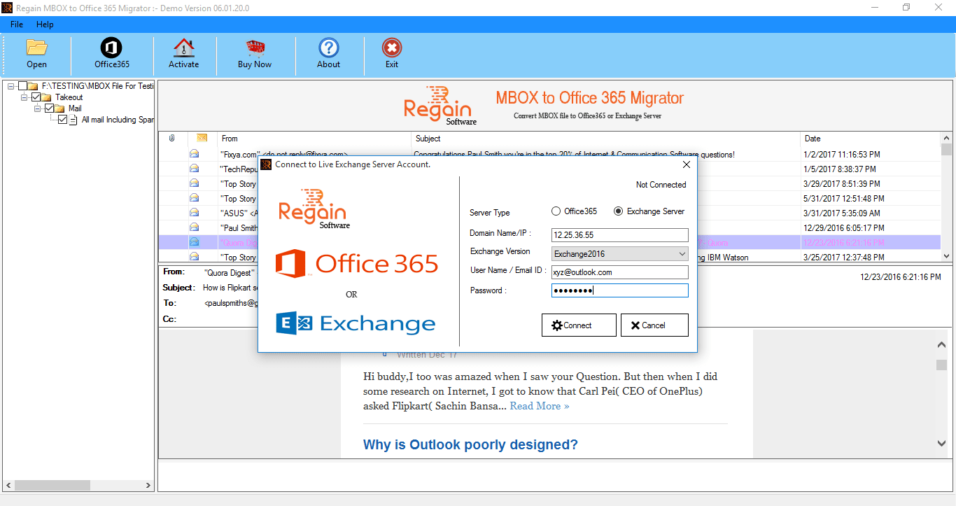 Migrate MBOX Files to Live Exchange Server as well