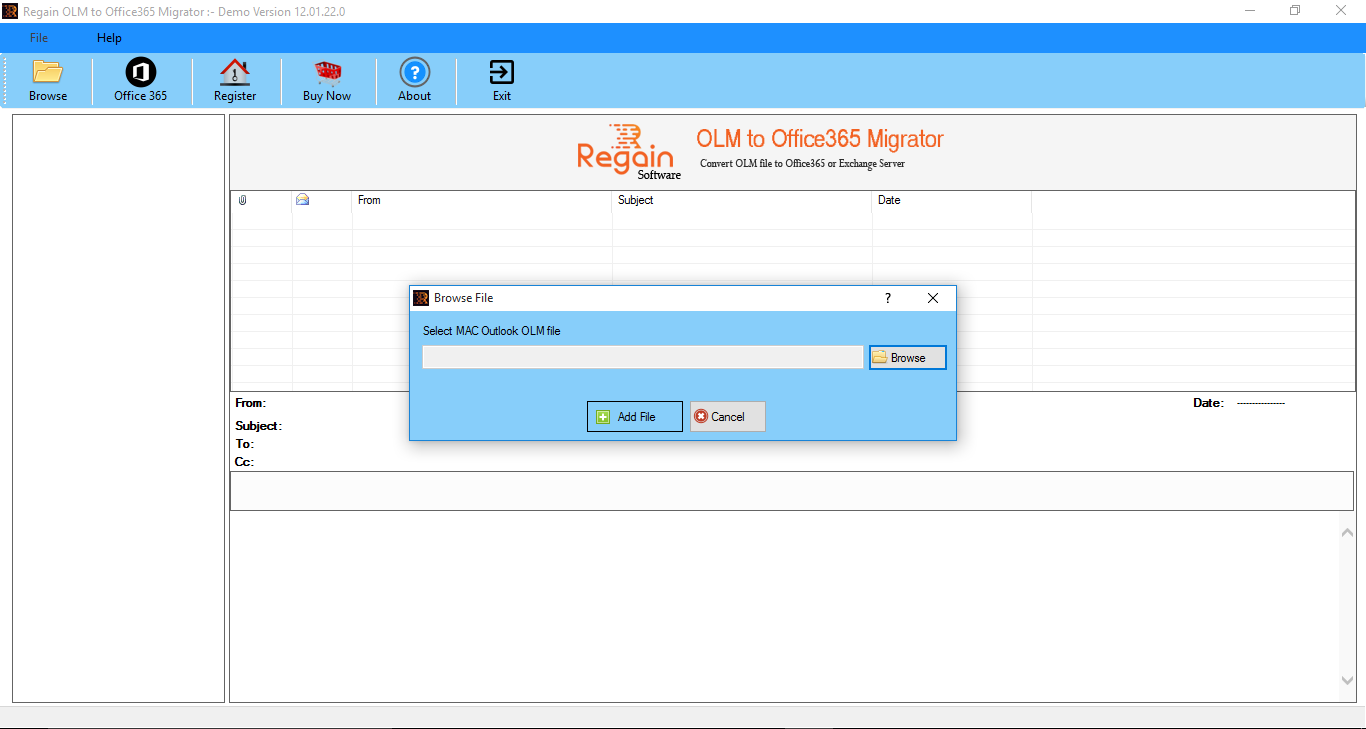 Regain OLM to Office 365 Migration Screenshots