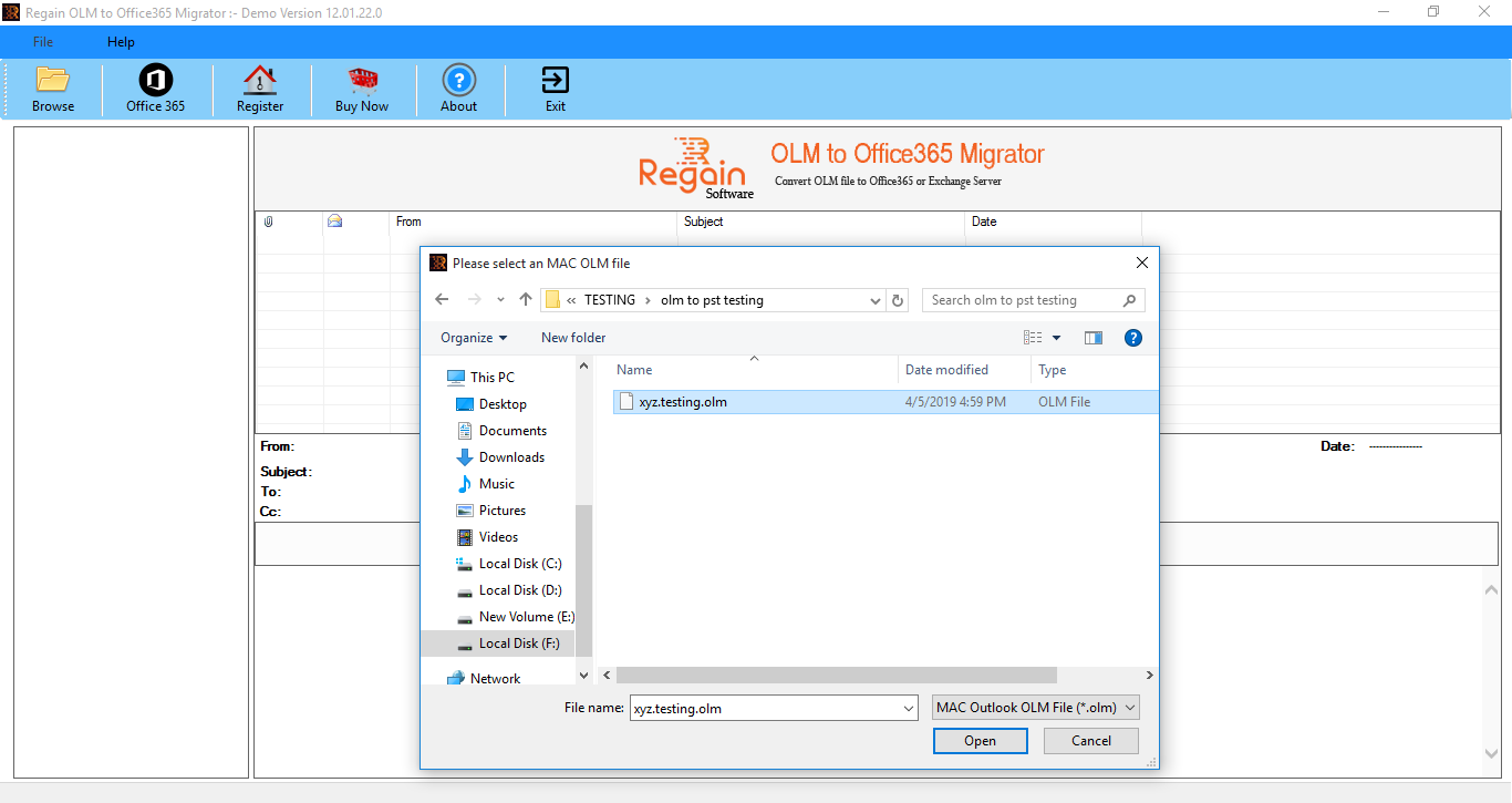 Select OLM file to migrate on Office 365