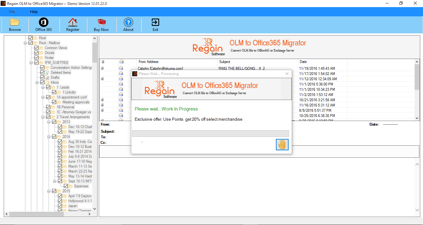 OLM to Office 365 software