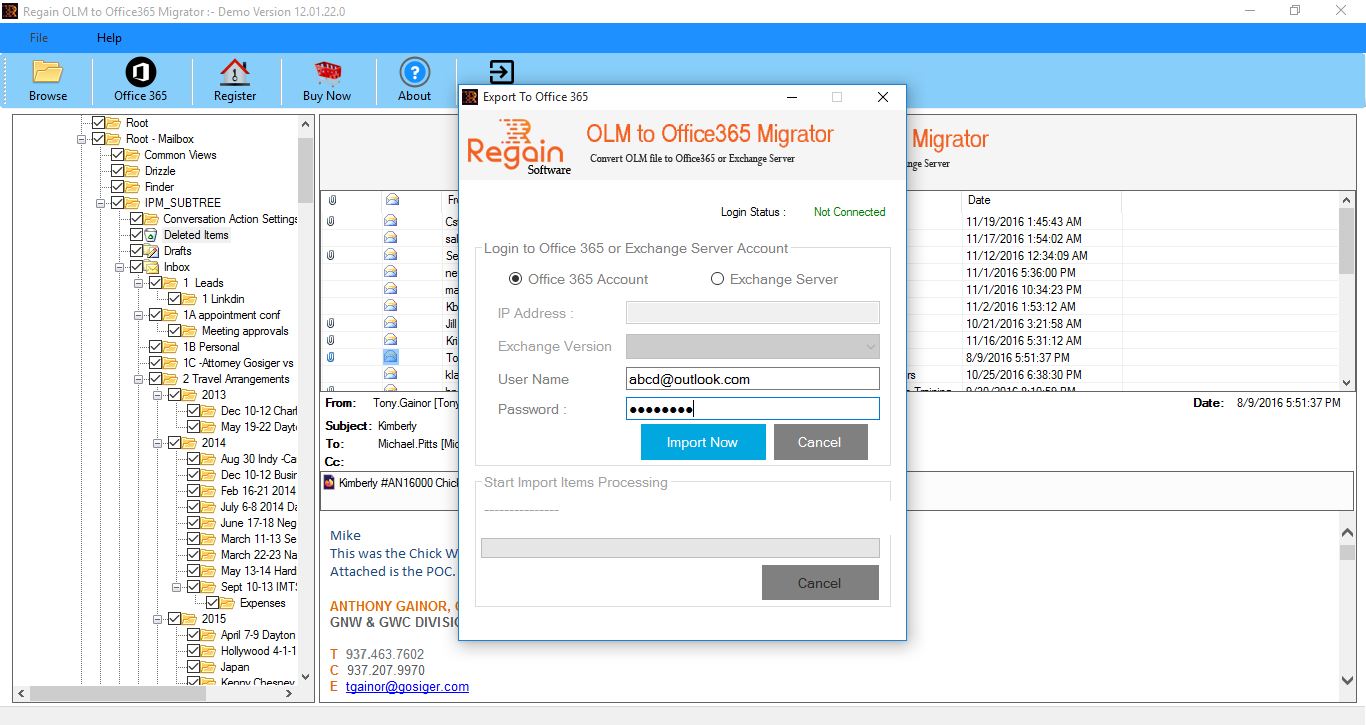 OLM to Office 365 Migration Software