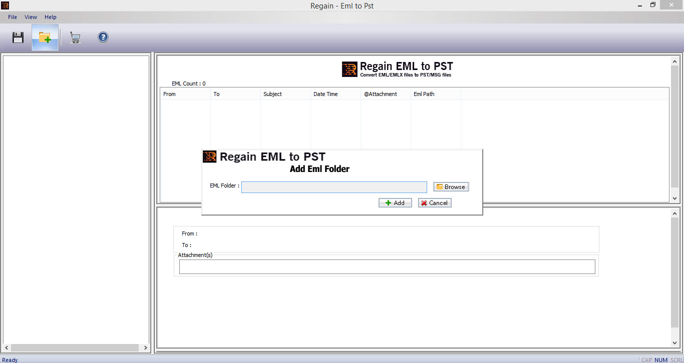 Regain EML to PST Converter Screen shot