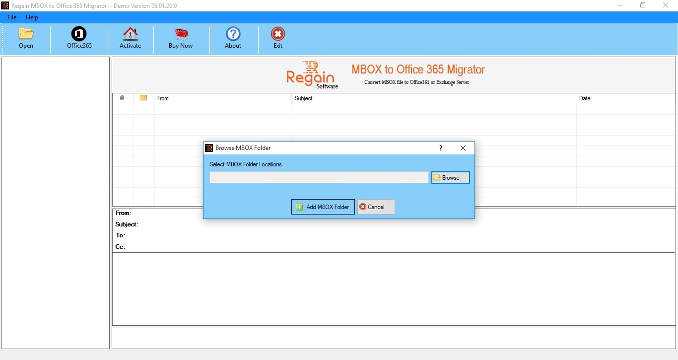 Regain MBOX to Office 365 Migrator