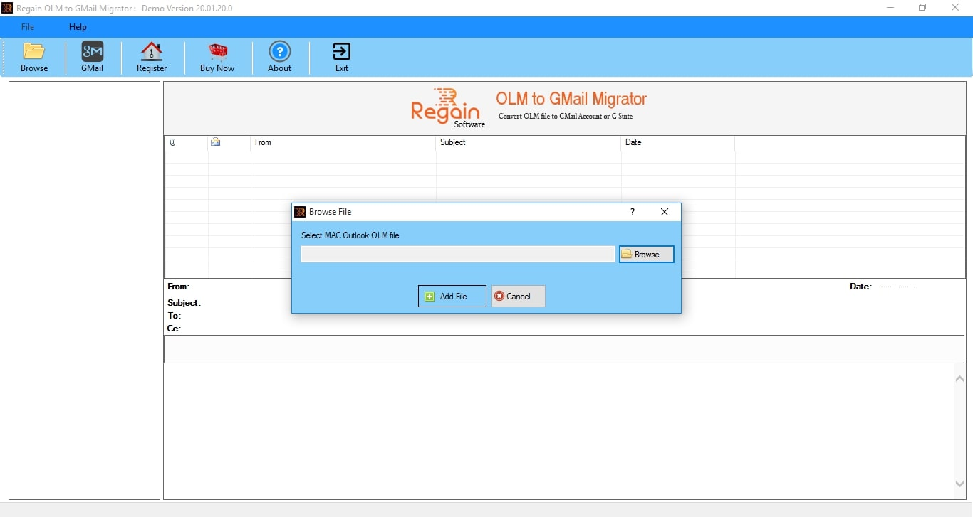 Regain OLM to Gmail Migrator