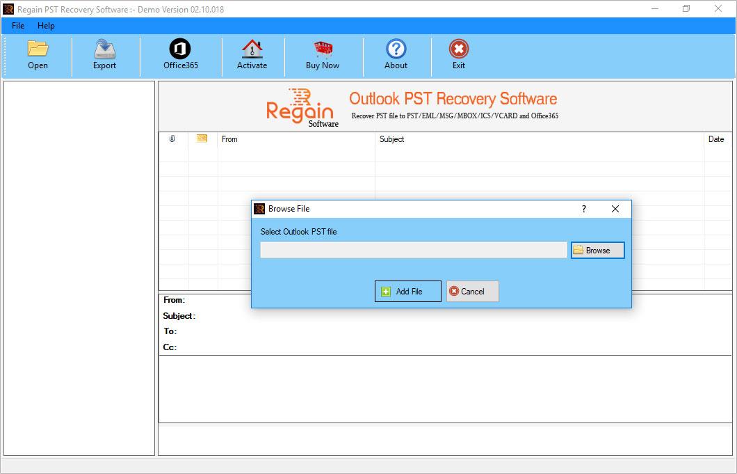 Regain Outlook PST Recovery screenshot