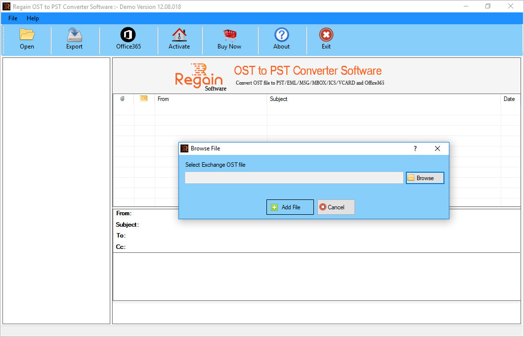 Click to view Regain OST to PST Converter 12.8.20.18 screenshot